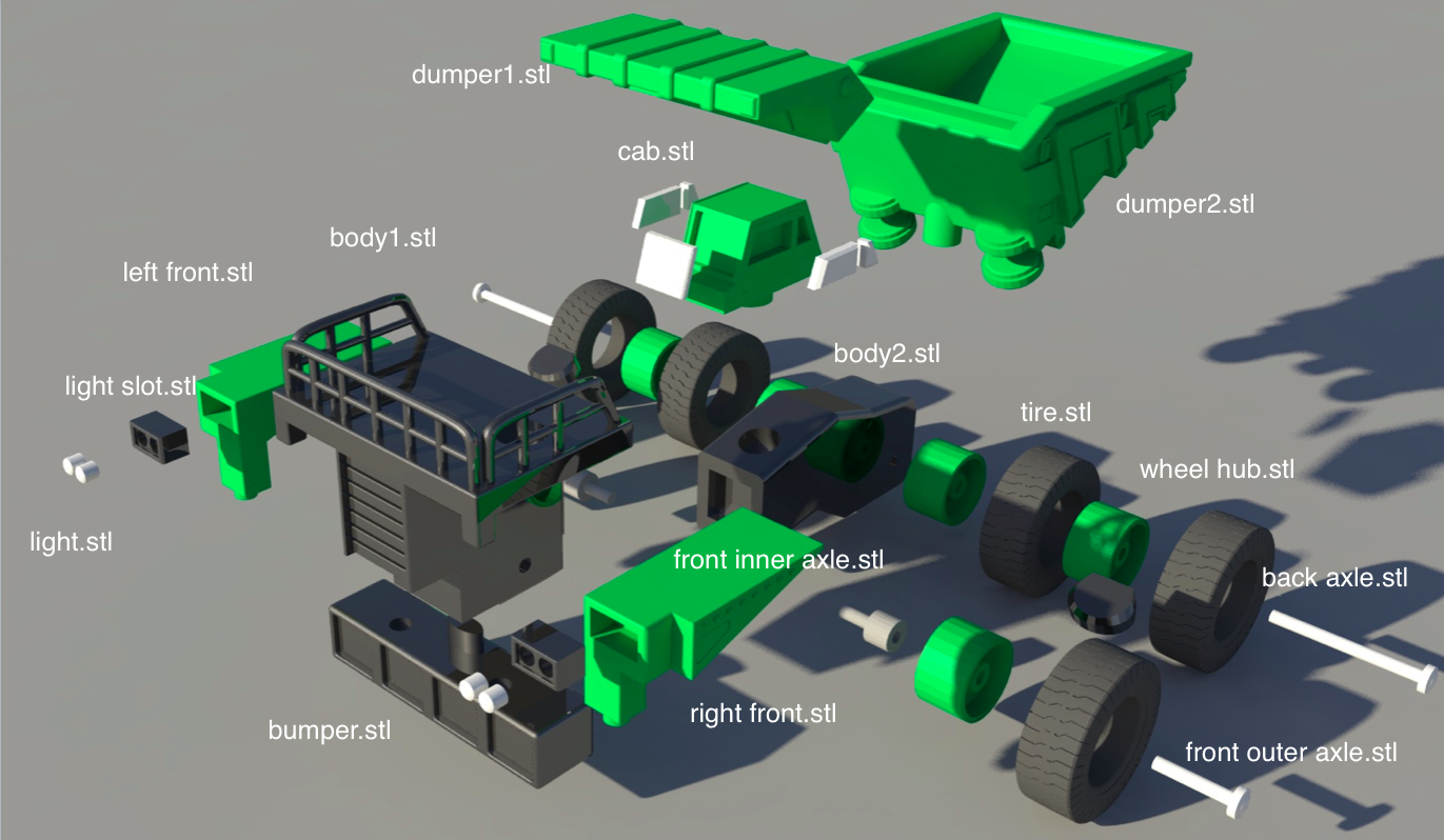 Caterpillar Heavy Truck 3D Printed and Assembled : 10 Steps