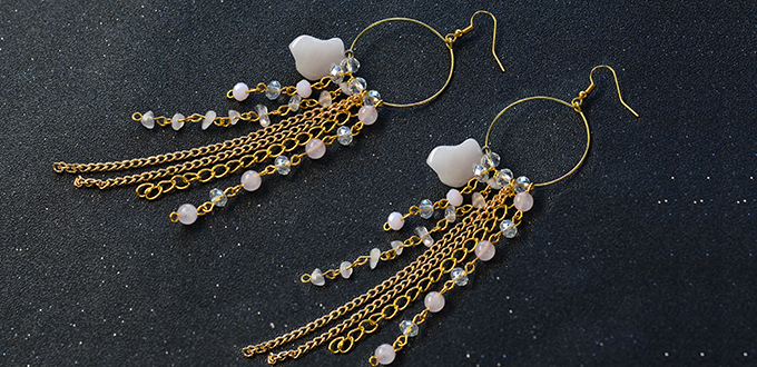 Picture of Beebeecraft Tutorials on Making Hoop Gemstone Chain Dangle Earrings for Summer