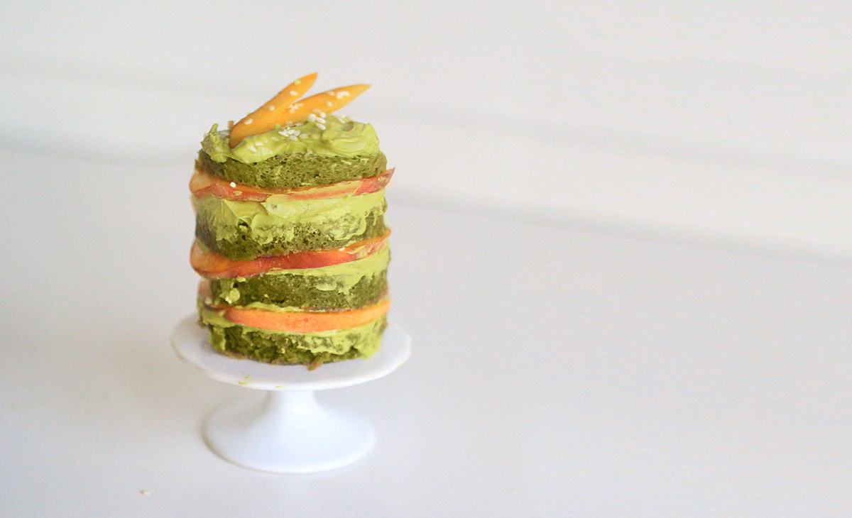 Picture of Layered Matcha Mug Cake With Peach