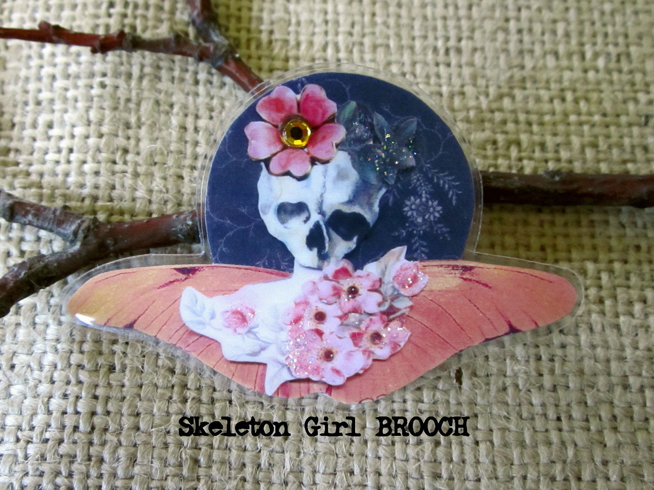 Picture of Skull Girl With Cherry Blossoms Brooch