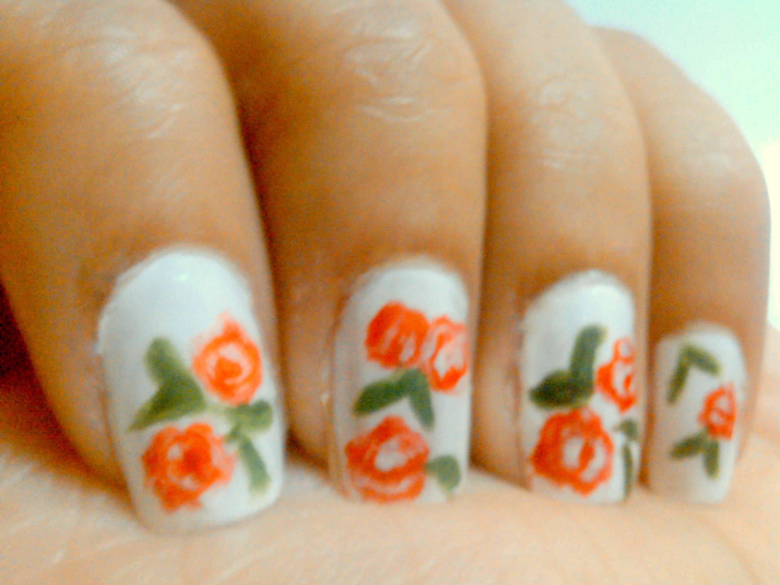 Picture of Nail Art Tutorial-Red Florals on White Base