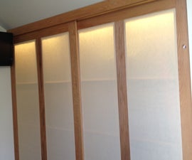 Cheap finished crawl space closet with oak sliding doors