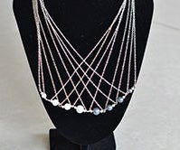 How to Make a Long Multi-strand Silver Chain Necklace With Pearl Beads for Office Lady