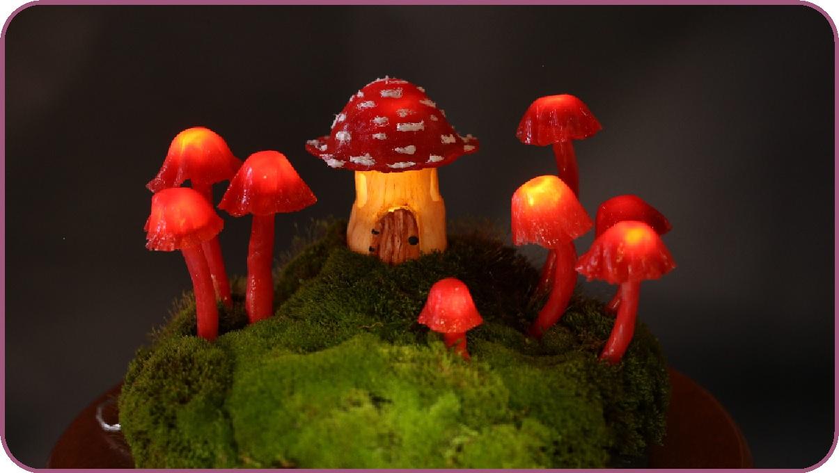 Picture of Miniature Fairy Garden Terrarium - Enchanted Mushroom Lights