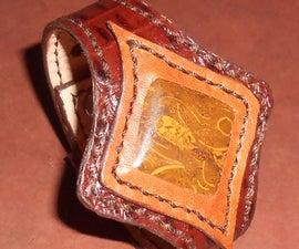 Leather Bracelet with Stone Cabochon