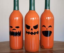 Wine bottle jack-o-lanterns