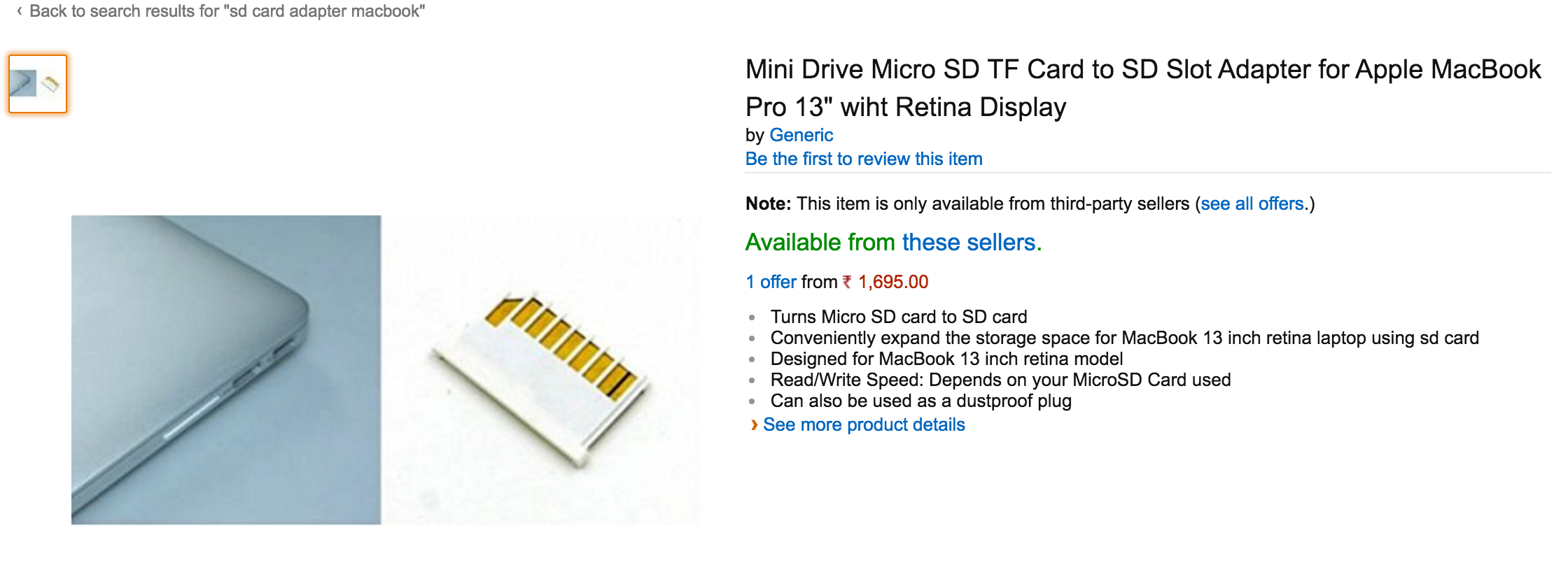 Picture of SD Card Hack for Macbook Pro Retina 13 Inch