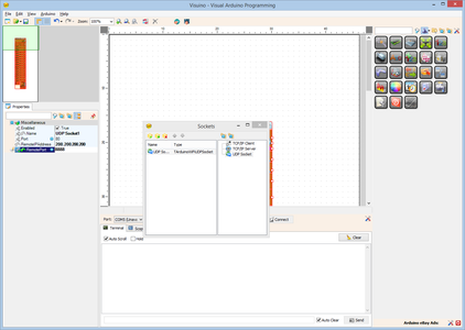 In Visuino: Add an UDP Socket for the Communication