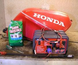 Electrolysis rust removal - motorbike fuel tank
