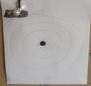 Picture of Rubber Band Target That Lights Up Upon a Bullseye!