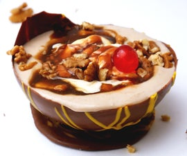 BANOFFEE BANANA SPLIT PUDDING IN CHOCOLATE BALLOON BOWLS
