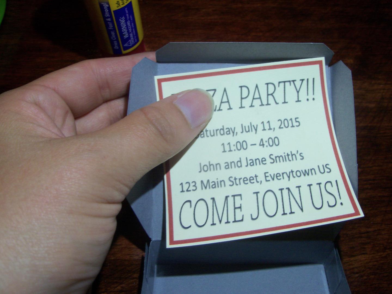 Picture of Glue Invitation Onto Box