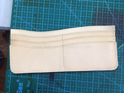 Sew the Third Card Slot on Card Slot Back Leather, Only Sew the Middle Stitching Line, After Sewing, the First, Second and Third Card Slots Will Be Sewn With Card Slot Back Leather All.