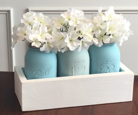 Chalk Paint Mason Jar Centerpiece