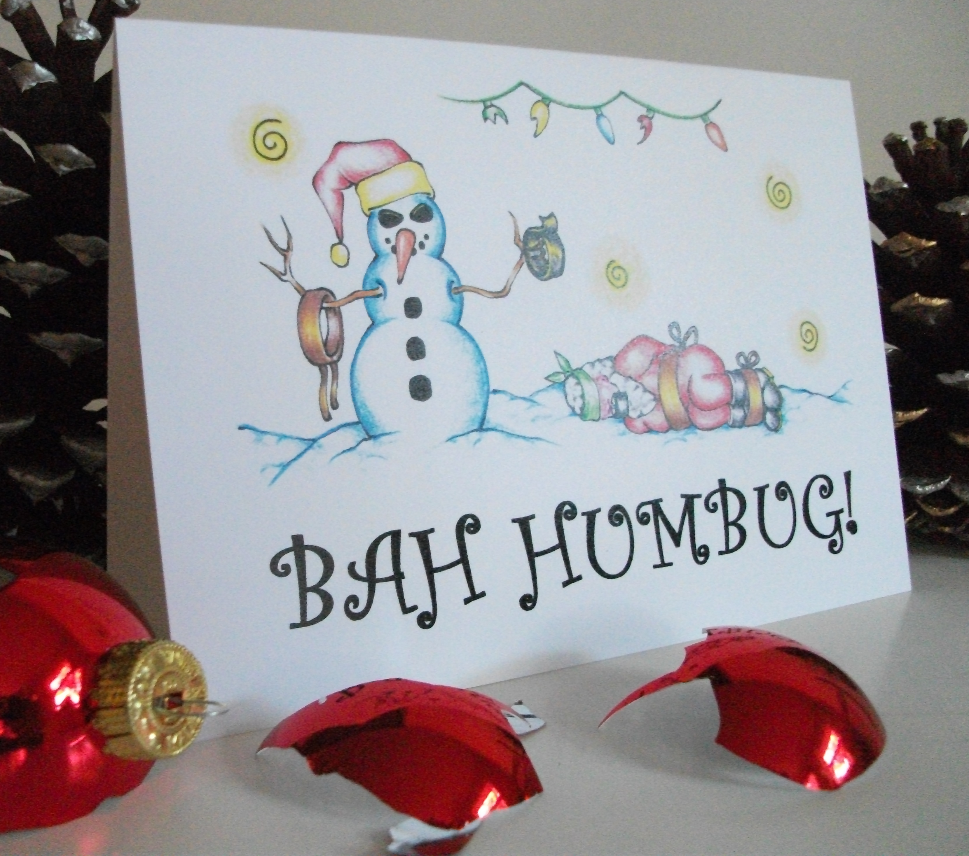 "Picture of ""Bah Humbug"" Devious Snowmen Christmas Cards - Christmas With an Attitude!"