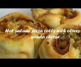 Hot Salami Pizza Rolls With Olives & Gouda Cheese Recipe
