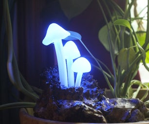 Glowing LED Mushroom Log Lamp