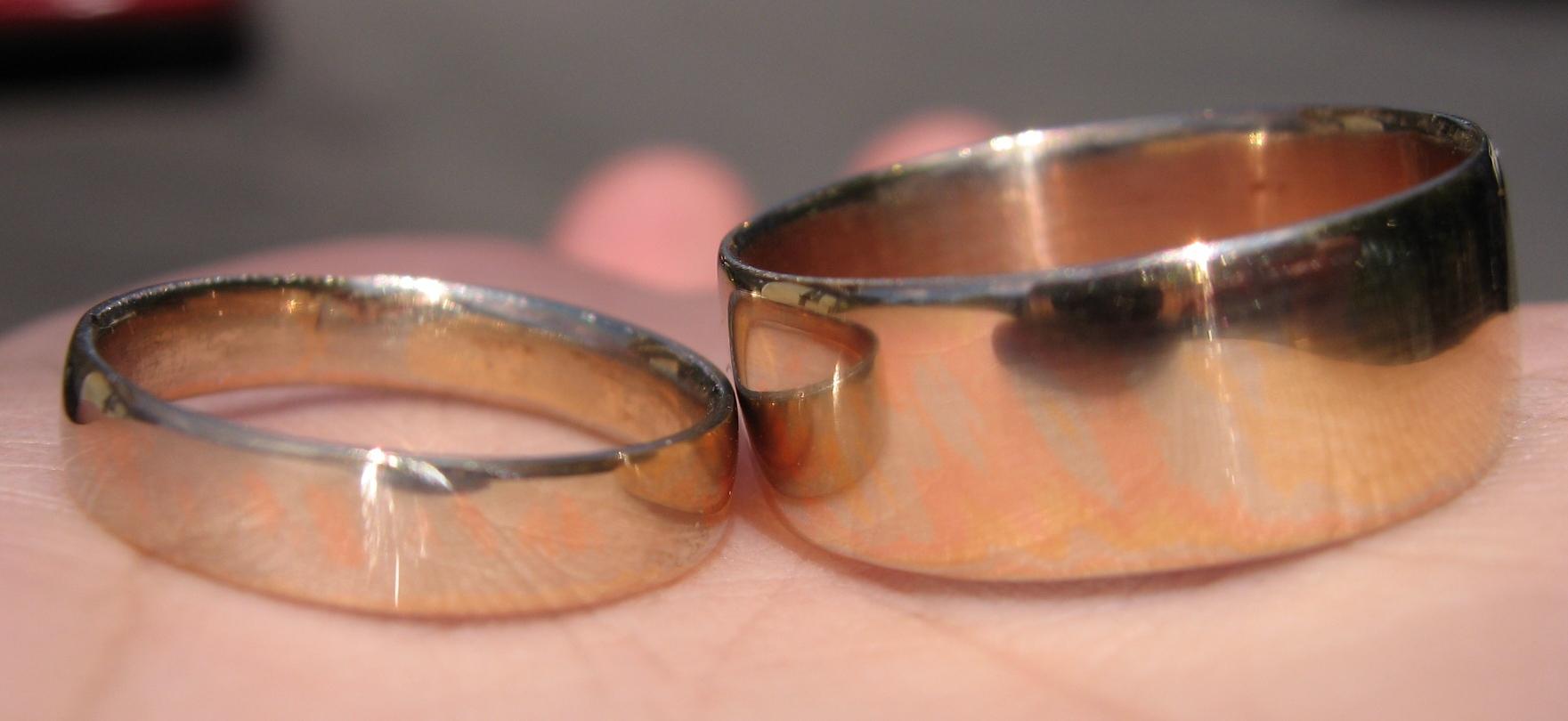 Picture of Matching 14kt Gold Mokume Gane Wedding Rings