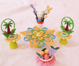 3D Paper Quilling Chair Table With Fruit Basket