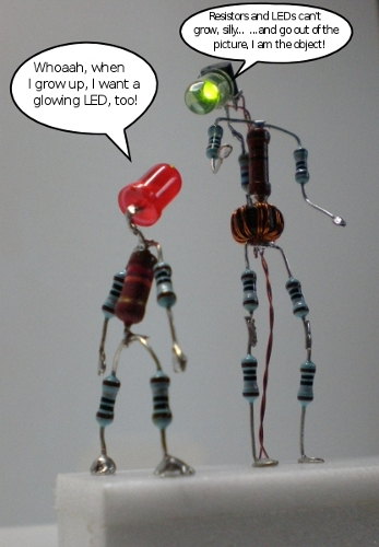Picture of The Illuminated LED Man (or the Joule Thief Man)