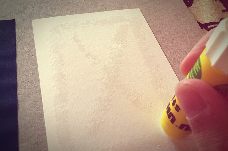 Picture of Glue the Back of Your White Card With the Cheapest Paper Glue You Can Find.