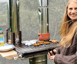 Upcycled Rocket Stove Griddle BBQ + Pizza Oven Attachment