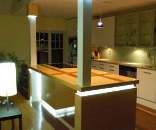 Custom Kitchen Island With LED Lighting
