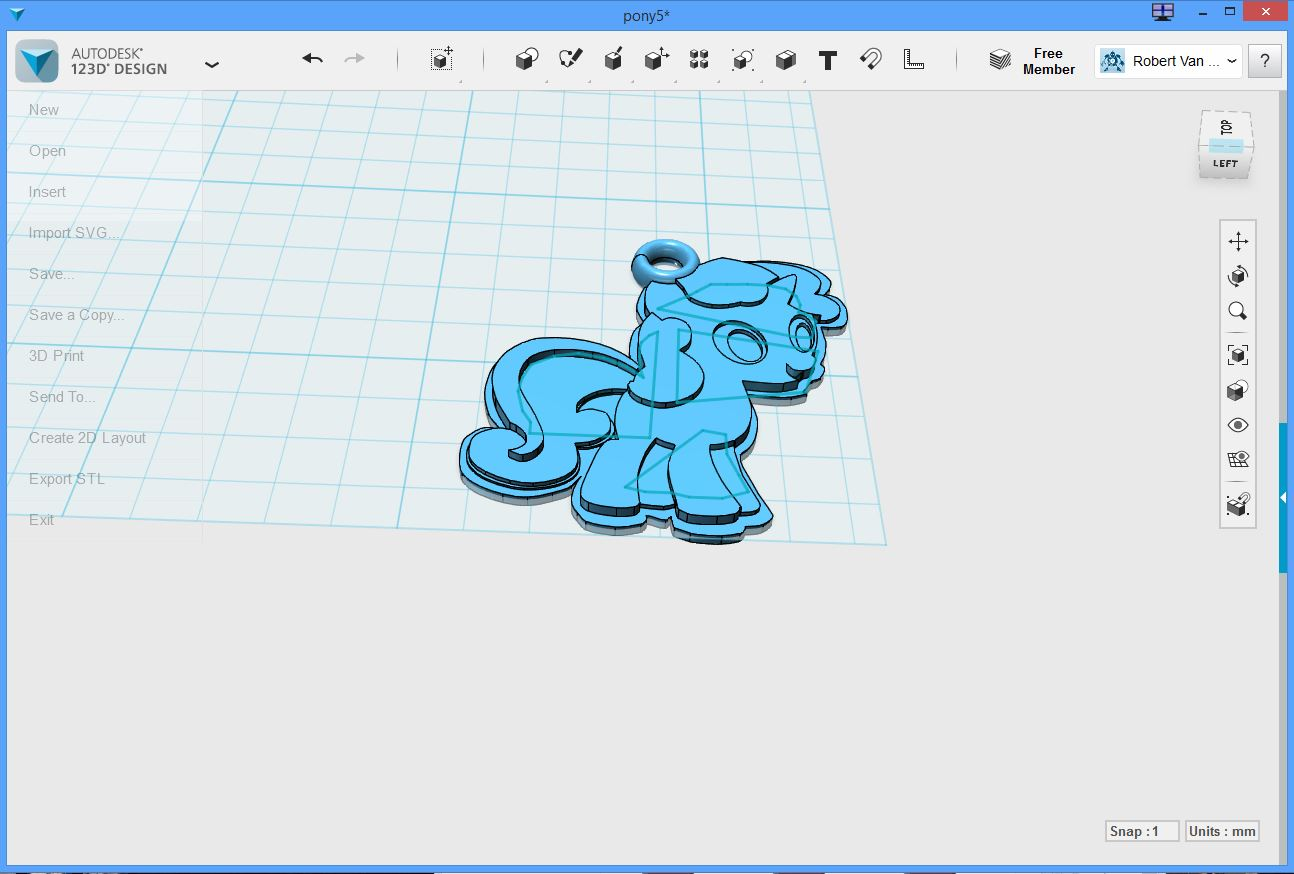Picture of Custom 3D Printed (in Silver) My Little Pony Charm