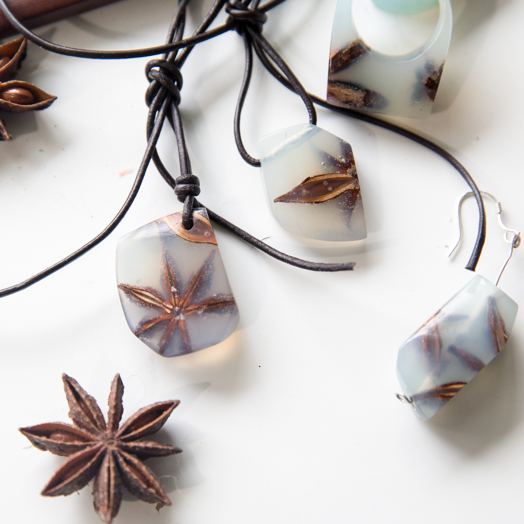 Picture of Resin and Star Anise Jewlery Set