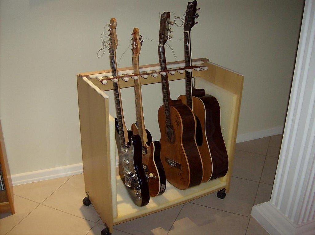 Multiple Guitar Stand Made Out Of An Old Computer Table