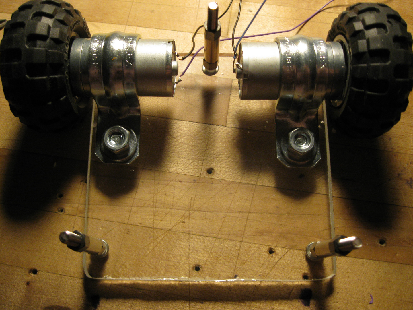 Picture of Preparing and Mounting the Motors and Wheels