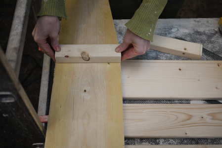 Put the Sides Together: Attach the Inside Supports for the Back of the Seat.