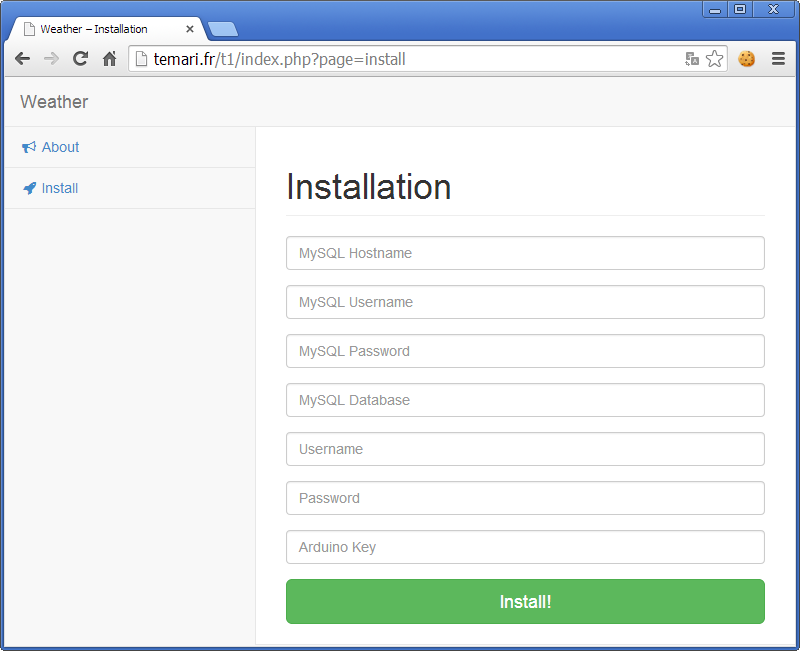 Picture of Web Interface