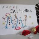 """Bah Humbug"" Devious Snowmen Christmas Cards - Christmas with an attitude!"