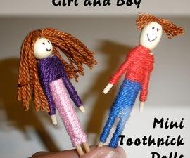 Boy and Girl Mini Toothpick Dolls
