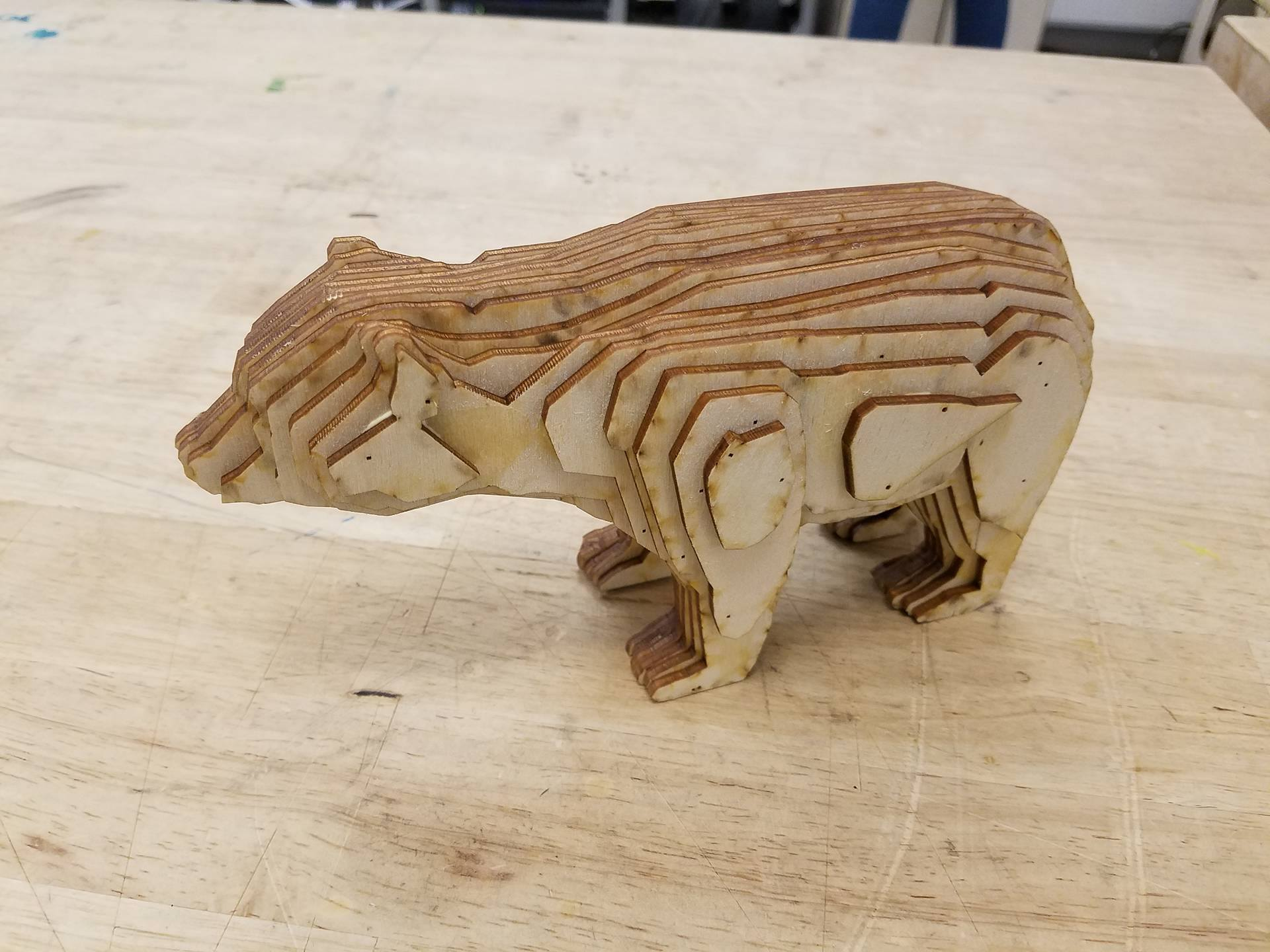 Picture of Laser Cut Bear From Stacked Slices