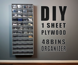 DIY Build - One Sheet Plywood - 48 Bins Organizer