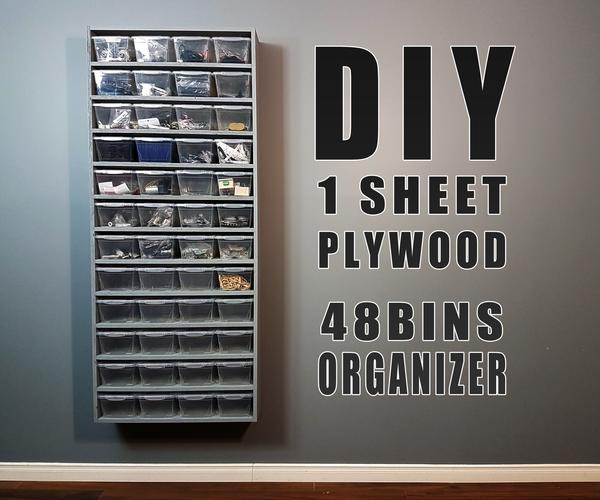 DIY Build - One Sheet Plywood - 48 Bins Organizer