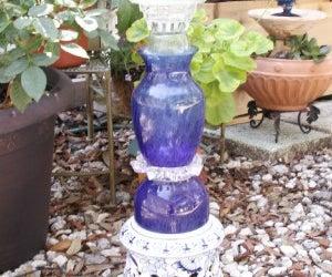 Upcycled solar powered garden fountain/ bird bath