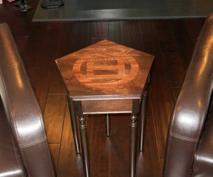Riven-Inspired Five-Sided Table W/ Reclaimed Legs