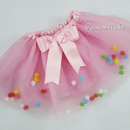 Rainbow Pom Pom Tutu Dress