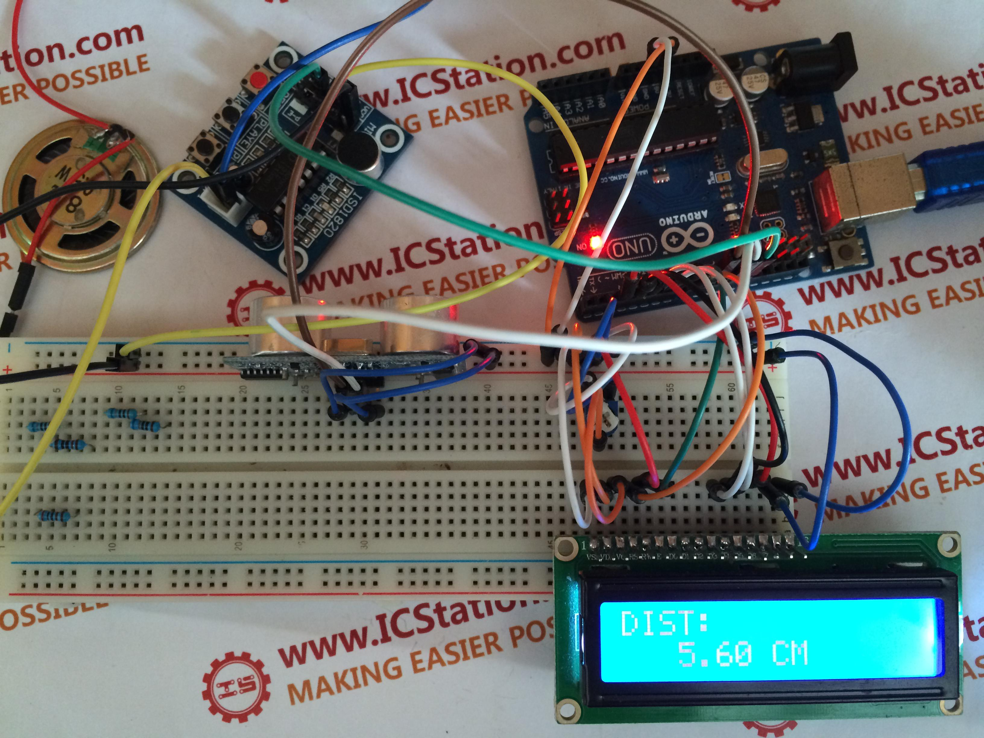 Picture of Ultrasonic Distance Display ISD1820 Voice Alarm System With Arduino