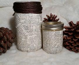 Book Page Mason Jar
