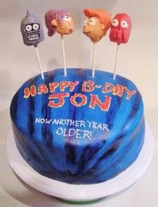 Futurama Cake With Cake Pops!
