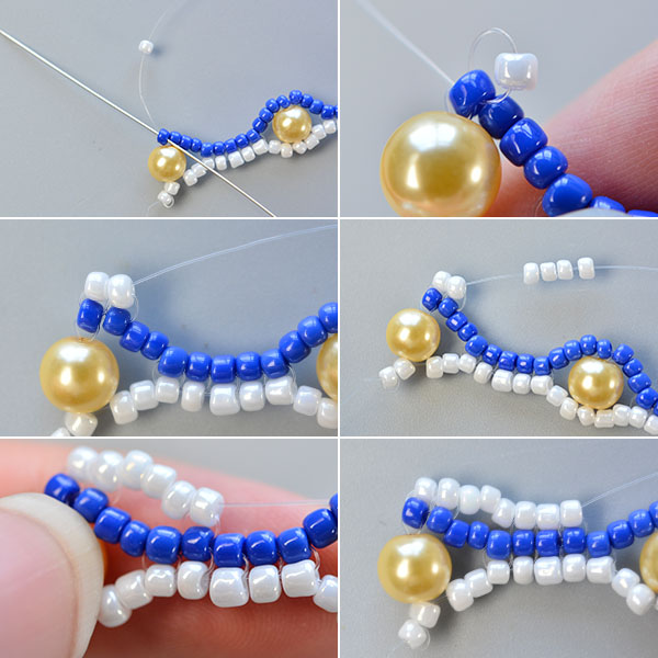 Picture of Make the Fourth Part of the Blue Seed Bead Stitch Wide Bracelet