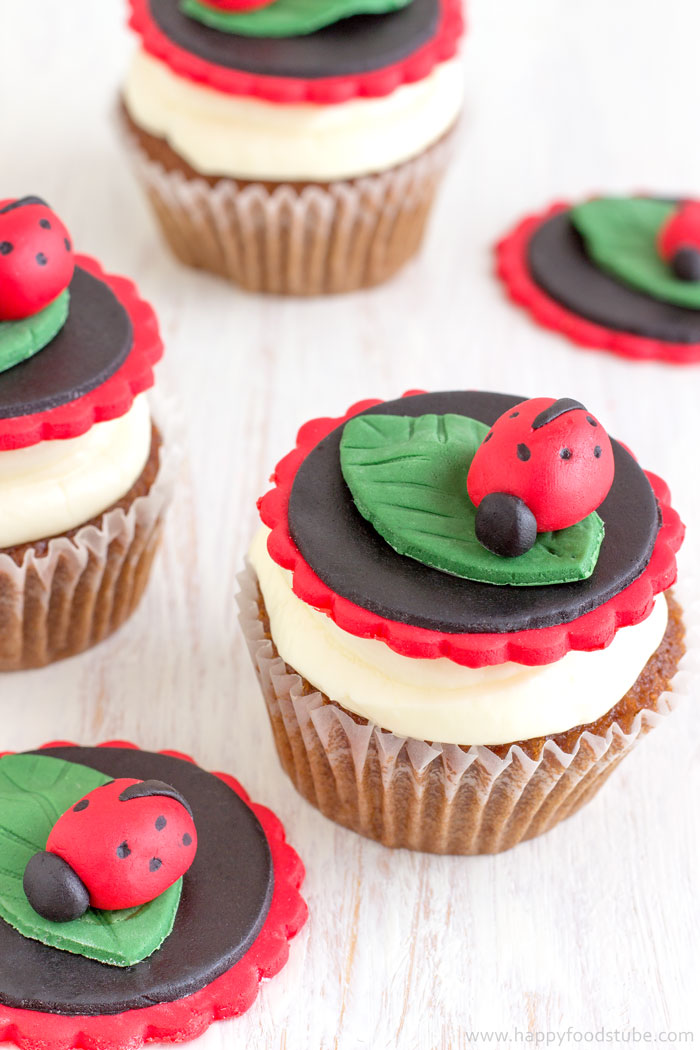 Picture of How to Make Ladybug Cake/Cupcake Toppers
