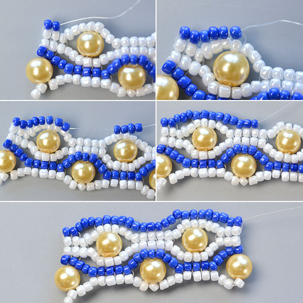 Picture of Make the Seventh Part of the Blue Seed Bead Stitch Wide Bracelet