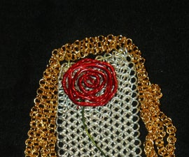 Chainmaille and Wire Rose Statement Necklace