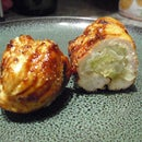 Stuffed BBQ chicken (sushi style roll)