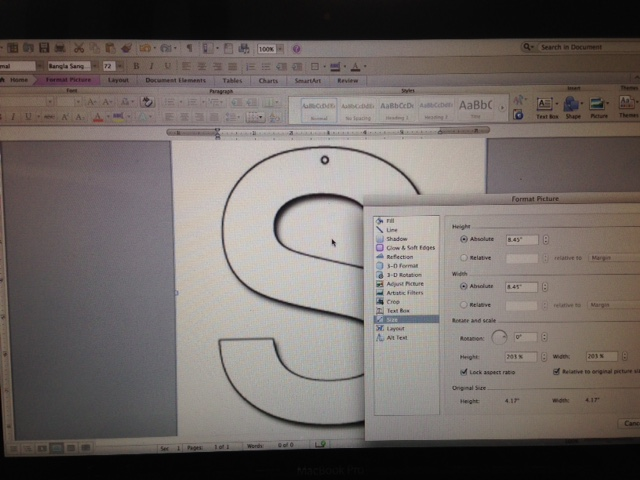 Picture of Creating a Stencil of Your Letter